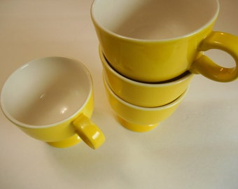 4 Mikasa Forecast Yellow Footed Coffee Cups Mugs