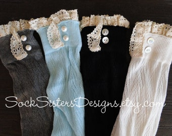 Boot Socks with Lace - Knee High Boot Socks