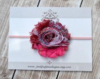 Pink Paisley flower headband, light pink headband, baby flower headband, newborn headband