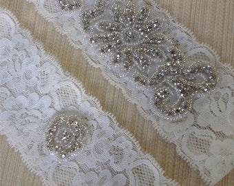 Wedding Garter Set,Rhinestone and Crystal Garter Ivory  Garter