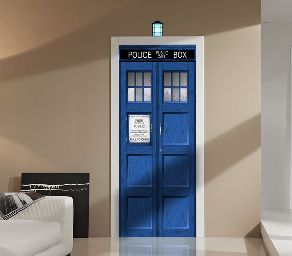 tardis fathead style repositionable door or wall graphic decal sticker