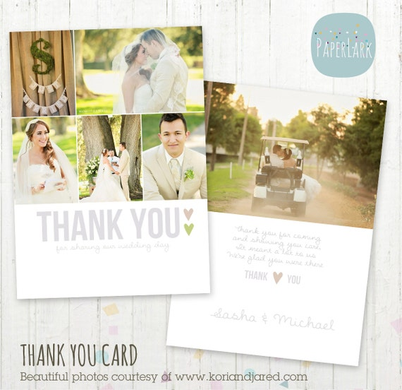 Wedding Thank You Card - Photoshop template - AW002 - INSTANT DOWNLOAD