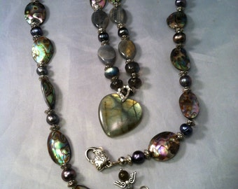 Labradorite and Abalone Necklace/ Statement Labradorite & Abalone Necklace/ Mixed Media Necklace