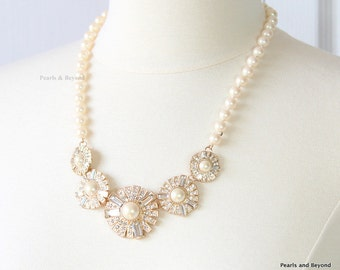 Pearl Rhinestone Flower Necklace Pearl Floral Bib Necklace Ivory Bridal Pearl Necklace
