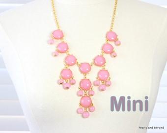 Mini Bubble Necklace  Bib Necklace Mini Version Pastel Pink