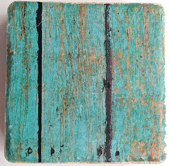 Rustic Blue Wooden Print Coaster Set
