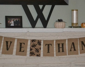 READY TO SHIP- Give Thanks Burlap Banner