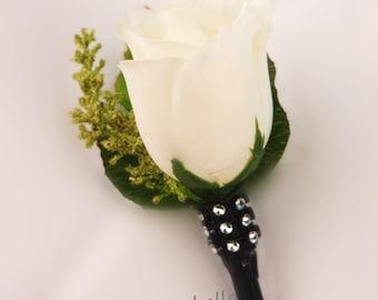 Ivory Black Wedding, Anniversary, Vows renewal boutonniere