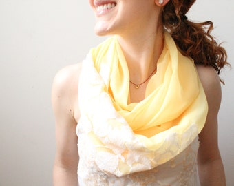Yellow Infinity Scarf, Lace and Chiffon Circle Scarf, Lightweight Spring Scarf