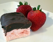 Chocolate covered Strawberry Marshmallows - 1 dozen fair trade Gourmet homemade chocolate covered marshmallows