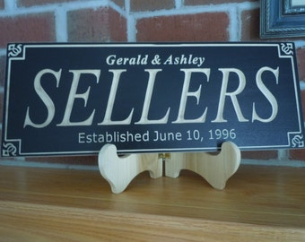 Wedding Engagement Anniversary Marriage Gift Personalized Wooden Carved Family Last Name Sign Established Date Housewarming Plaque Poplar 1