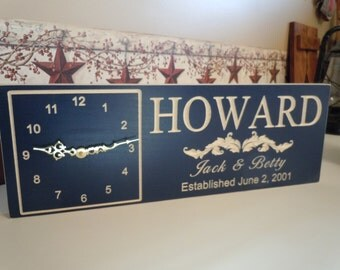 Personalized Clock Sign Custom Wedding Anniversary Engagement Marriage Gift Established Date Family Last Name Housewarming 18 x 7 Poplar C13