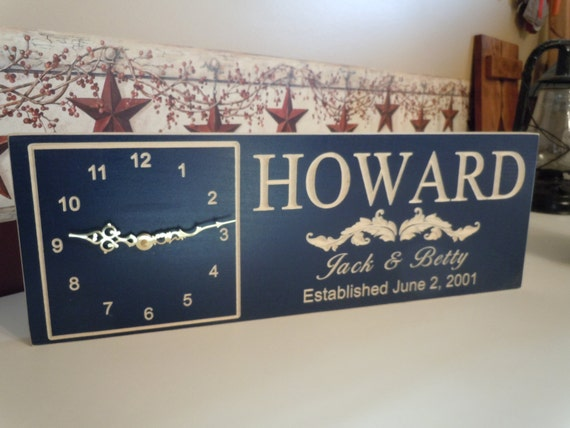 Wedding Gift Clock: Personalized Clock Sign Custom Wedding Anniversary Engagement