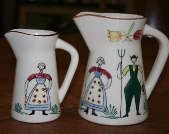 Pair of Hand Painted Water Pitchers or Creamer