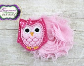 Adorable Two Toned Hot Pink Owl Pink Flower Clip or Headband
