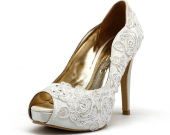 Rose Garden, Ivory White Wedding Shoes, Ivory White Bridal Heels, Ivory White Satin Rose Embroidery Lace Wedding Shoes, Ivory White Lace
