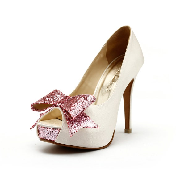 Ivory White Wedding Heels, Ivory Wedding Shoes with Glitter,  Ivory and Pink Wedding Heels, Glitter Wedding Shoes