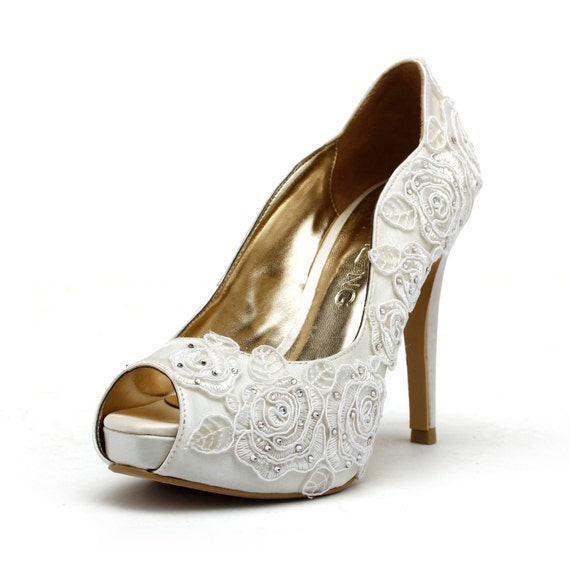 Rose Garden Ivory White Wedding Shoes Bridal
