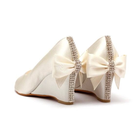 Items Similar To Ivory Rhinestone Wedding Shoes Ivory White Bridal Wedges Garden Wedding