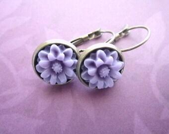 Violet Dahlia earring dangle lilac leverback