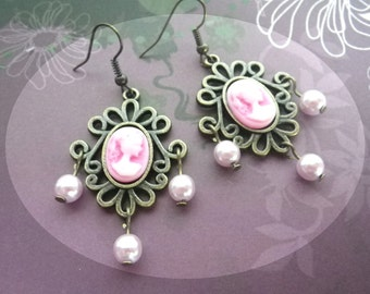 Victorian Lady pink - cameo earrings Gothic nostalgic shabby chic barock