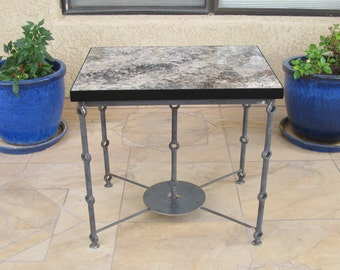 Alpine Granite Table, Side Table, Stone Table, Ornamental Pierced Steel Frame, Industrial Table, Granite End Table, Granite Furniture