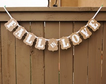 FALL in LOVE banner for Weddings, Wedding Banners, Engagement Session Photo Props, Party Signs, Bridal Shower Sign | Kraft & White
