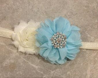 Ivory aqua headband, newborn headband, baby headband, baby girl headband, flower headband, shabby chic flower -BL264