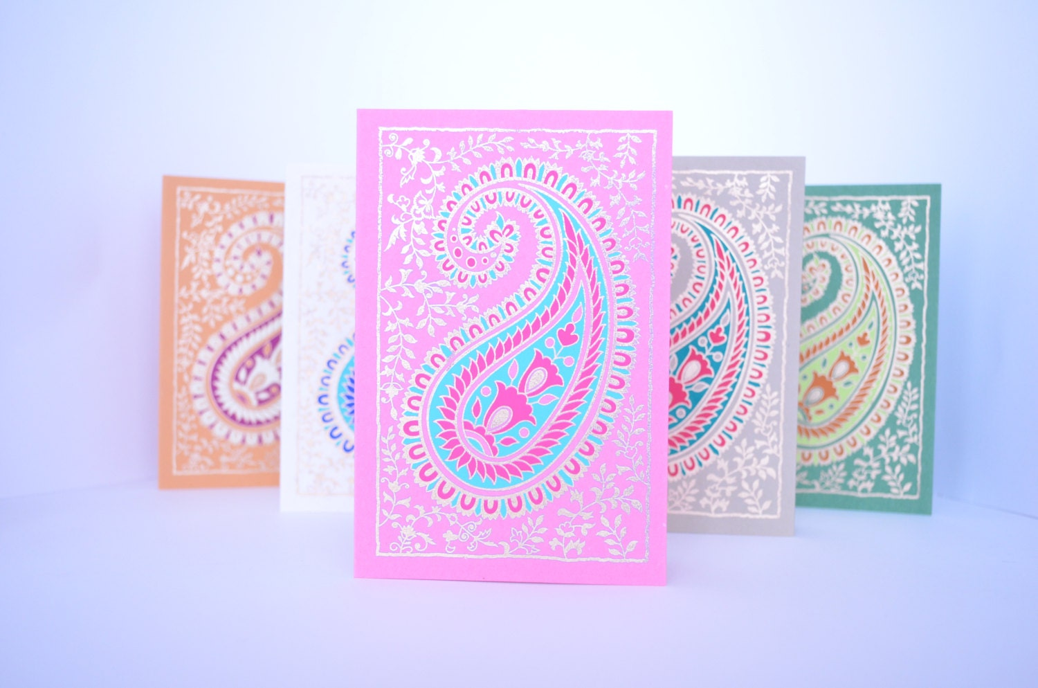 Paisley Blank Greeting Card Set Indian wedding cards – Indian Birthday Cards