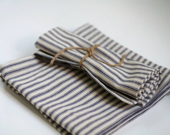 Set of 4, blue ticking stripe cloth napkins - made to order - farmhouse, cottage chic, rustic style cloth napkins