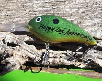 Happy Anniversary 2nd Wedding Anniversary Gift for Husband Personalized Lures Him Fisherman Boyfriend Fishing Hook Men Second Anniversary