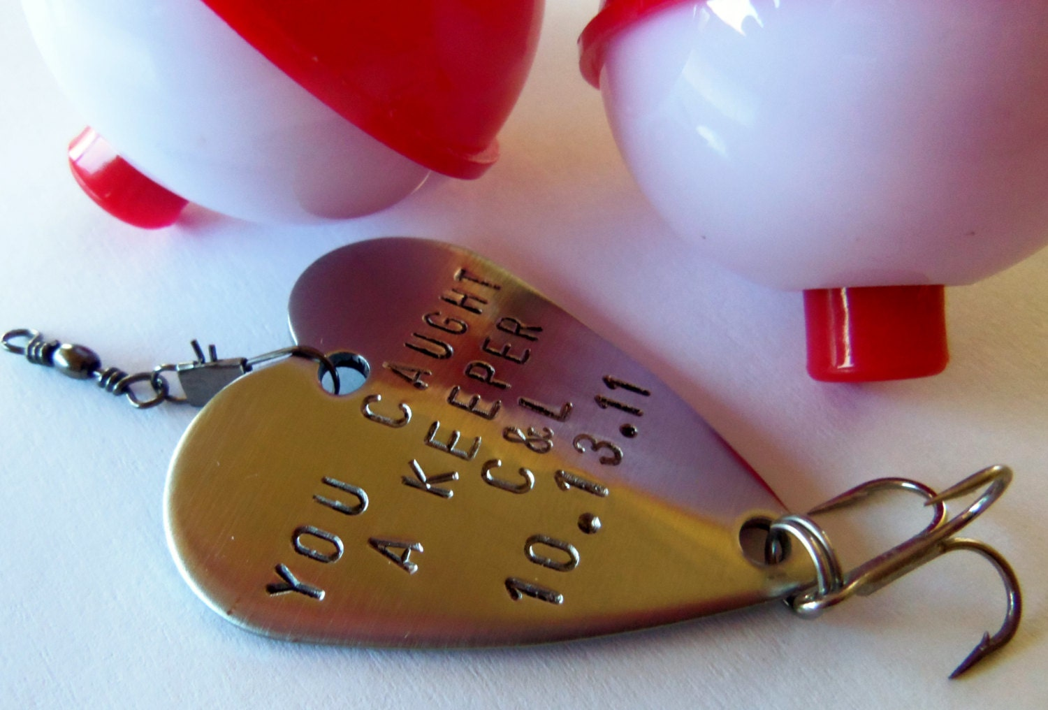 Custom fishing lure engraved men 15th anniversary gift for for Personalized fishing lures