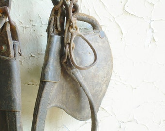 Antique Horse Bridle Iron and Leather Rustic Farmhouse Decor