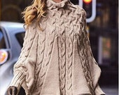 Hand knitted poncho with sleeves in wool for women, made to order