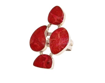 Red Sponge Coral Section Ring