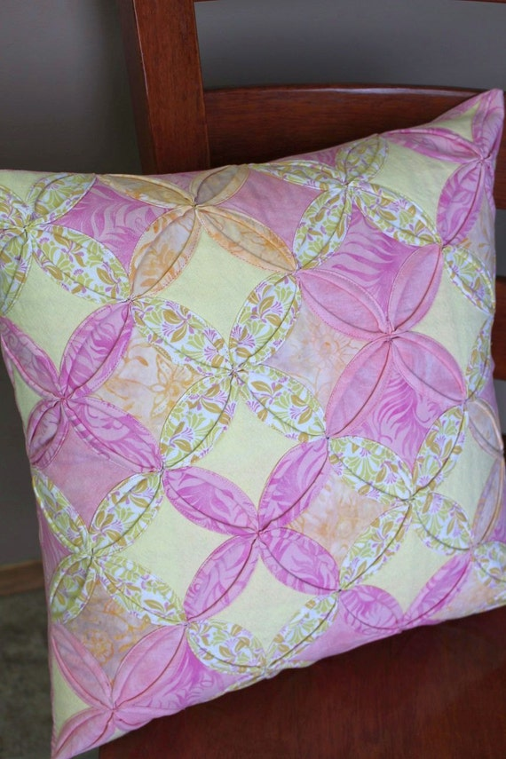 Items similar to Quilted Origami Pillow Sham Handmade Pink, Yellow and White Cathedral Window ...