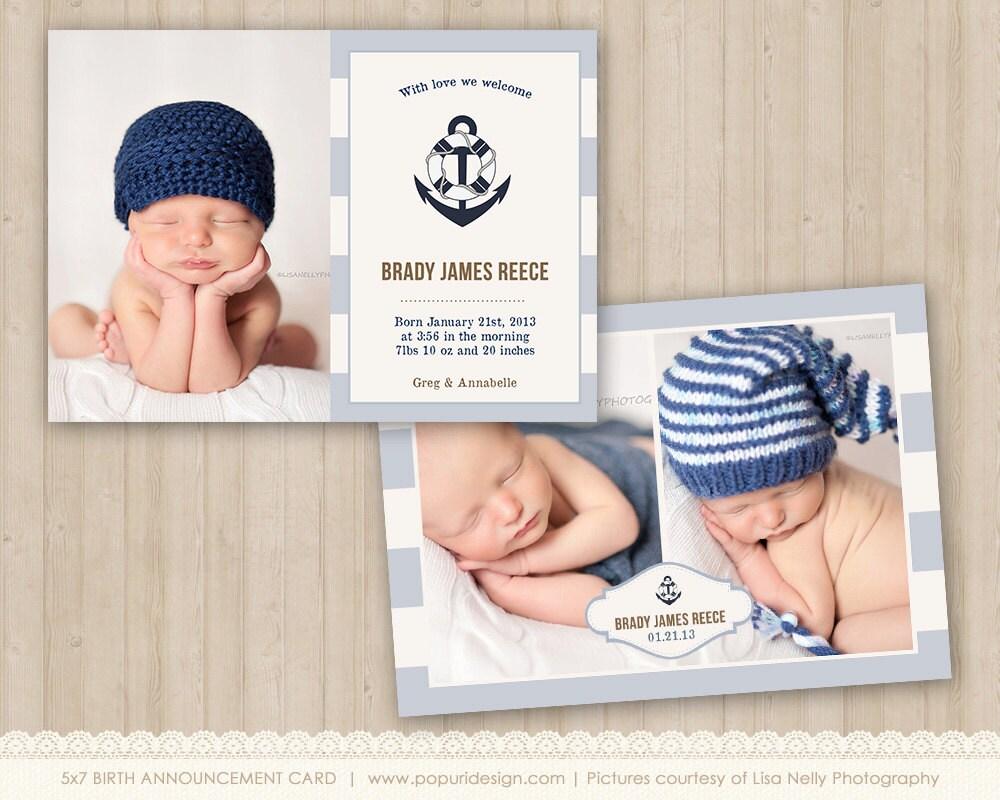 nautical boy birth announcement card 5x7 flat card by