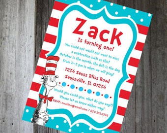 Dr. Seuss Birthday Invitation - DIY PRINTABLE