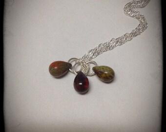 Desert Sand Czech Glass Teardrops Necklace
