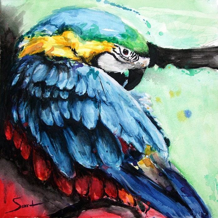 Popular items for parrot painting on Etsy