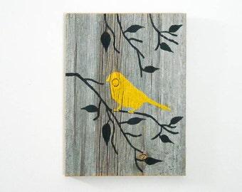Reclaimed Barnwood Hand-Painted Wood Wall Art Rustic Art - Yellow - Bird on Branch Silhouette Design