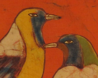 Batik of Two Birds from Nepal