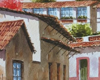 Original Watercolor Painting of Mediteranean Street Scene in Spring Part II