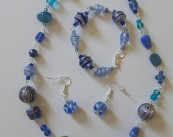 Blue glass necklace, bracelet and earring set