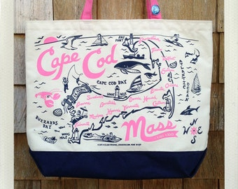Cape Cod Beach Tote Pink & Navy