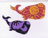 Whale Papercut Card (flower patterns)