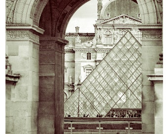 Louvre Paris France Photo -8 x 10 Parisian Home Decor-Musee du Louvre-Paris Architecture- Louvre Museum Pyramid-Fine Art Paris-Vintage Look