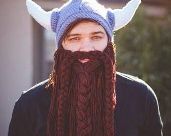 FREE SHIPPING! Crochet Viking Hat, Beard, Costume, Horns, Viking Hat, Viking, Hat, Helmet, Gift, Detachable Beard