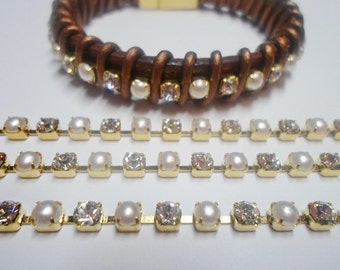 """7.5"""" Cupchain, 4mm Chinese glass rhinestone / faux pearl / gold-finished brass"""
