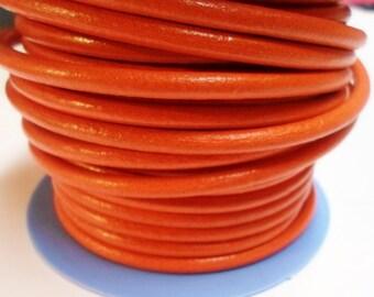 2ft 4.5mm Round Pumpkin Orange European Round Leather cord,